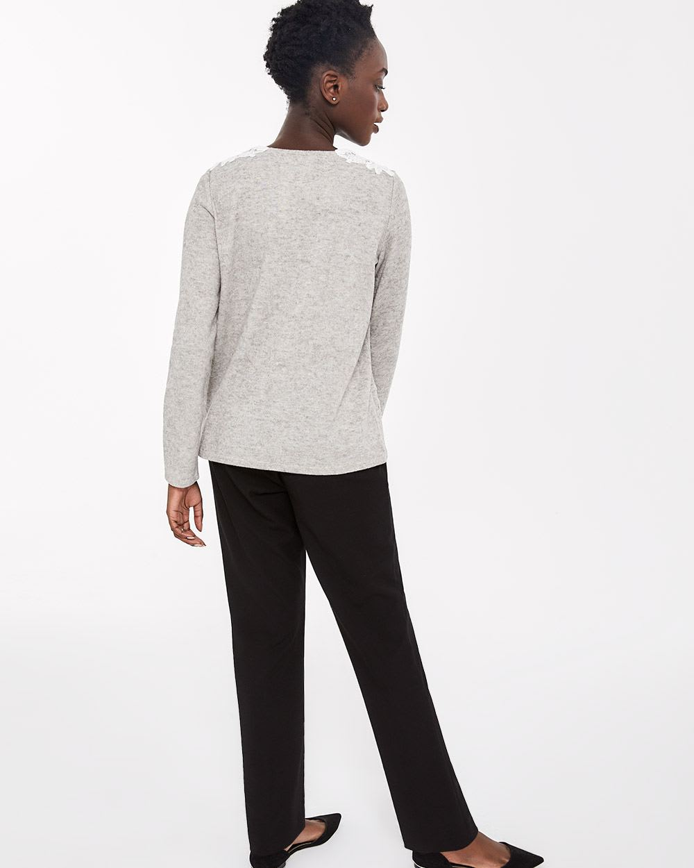 Lace Patch Long Sleeve Top