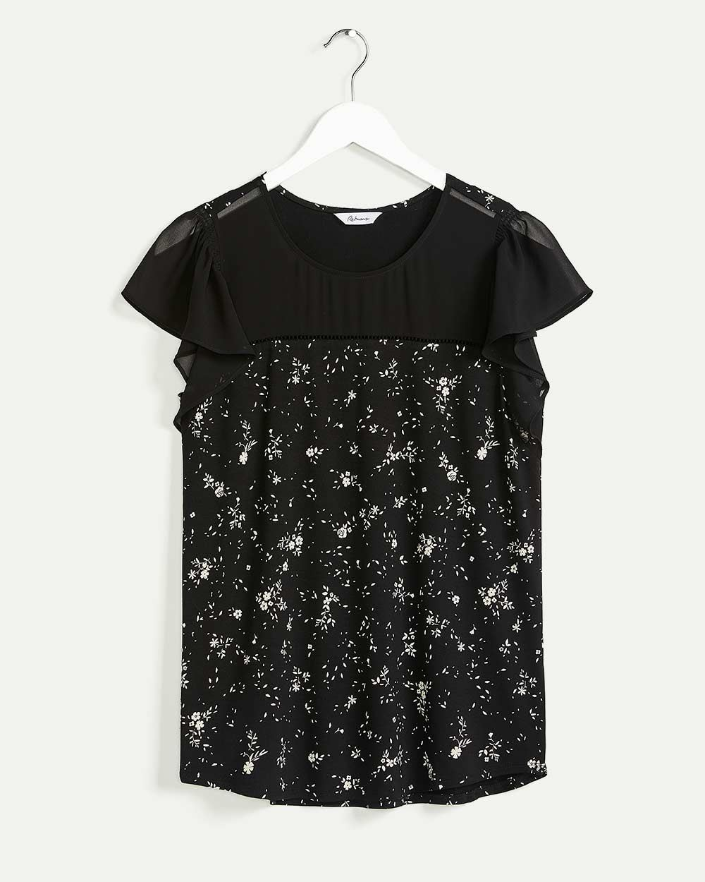 Short Flutter Sleeve Printed Mix Media Tee
