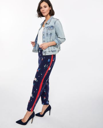 Petite Contrasting Side Seam Slim Pants