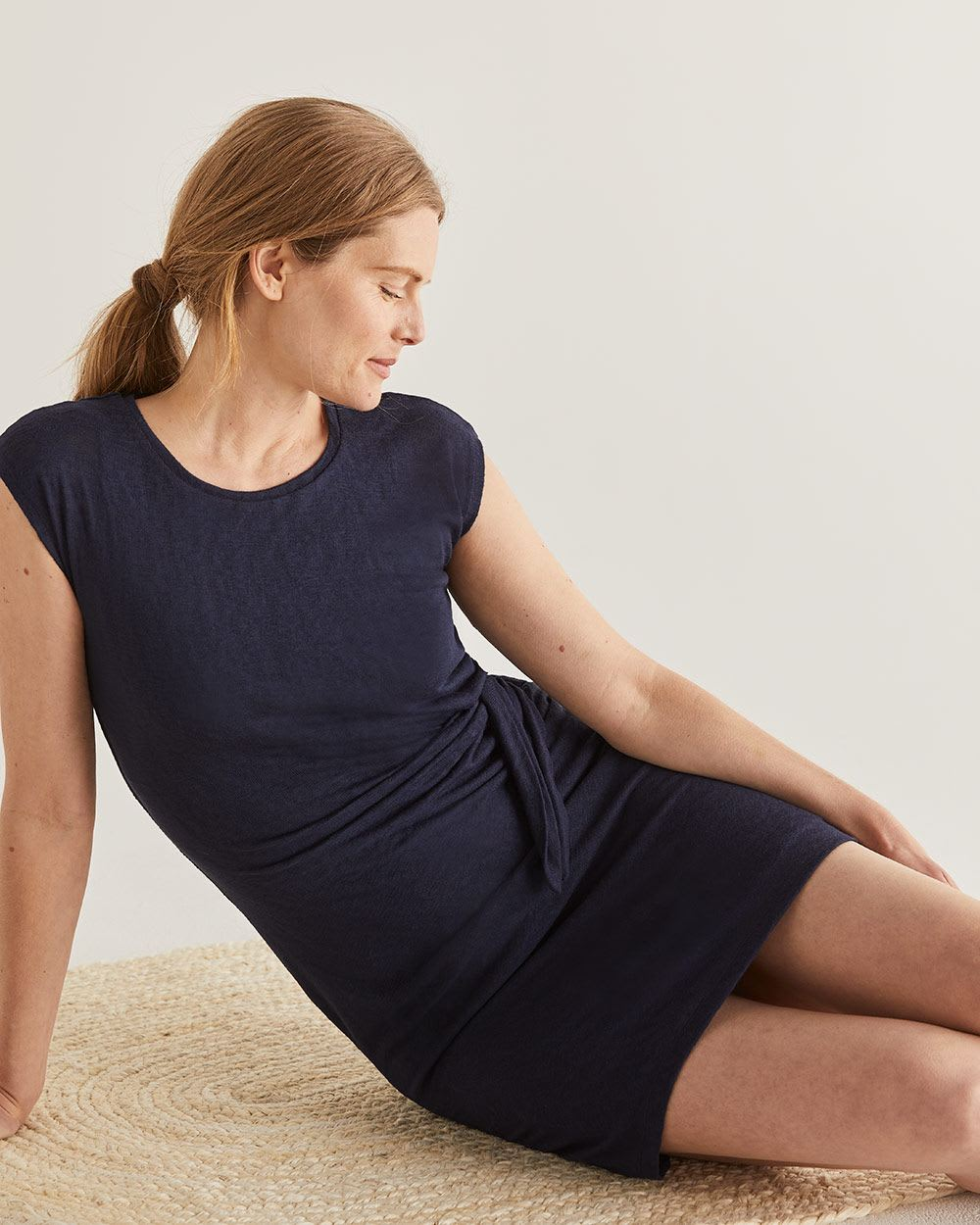 Navy Knotted Shift Dress