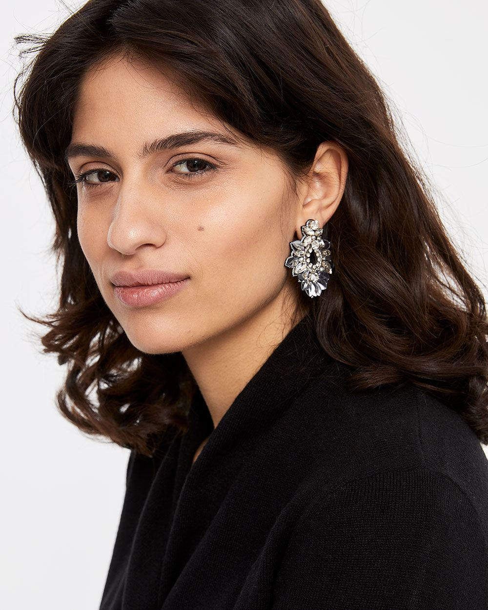Faux Crystal Floral Earrings