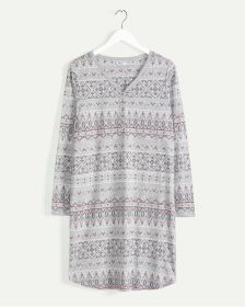 Long Sleeve Fairisle Print Nightshirt
