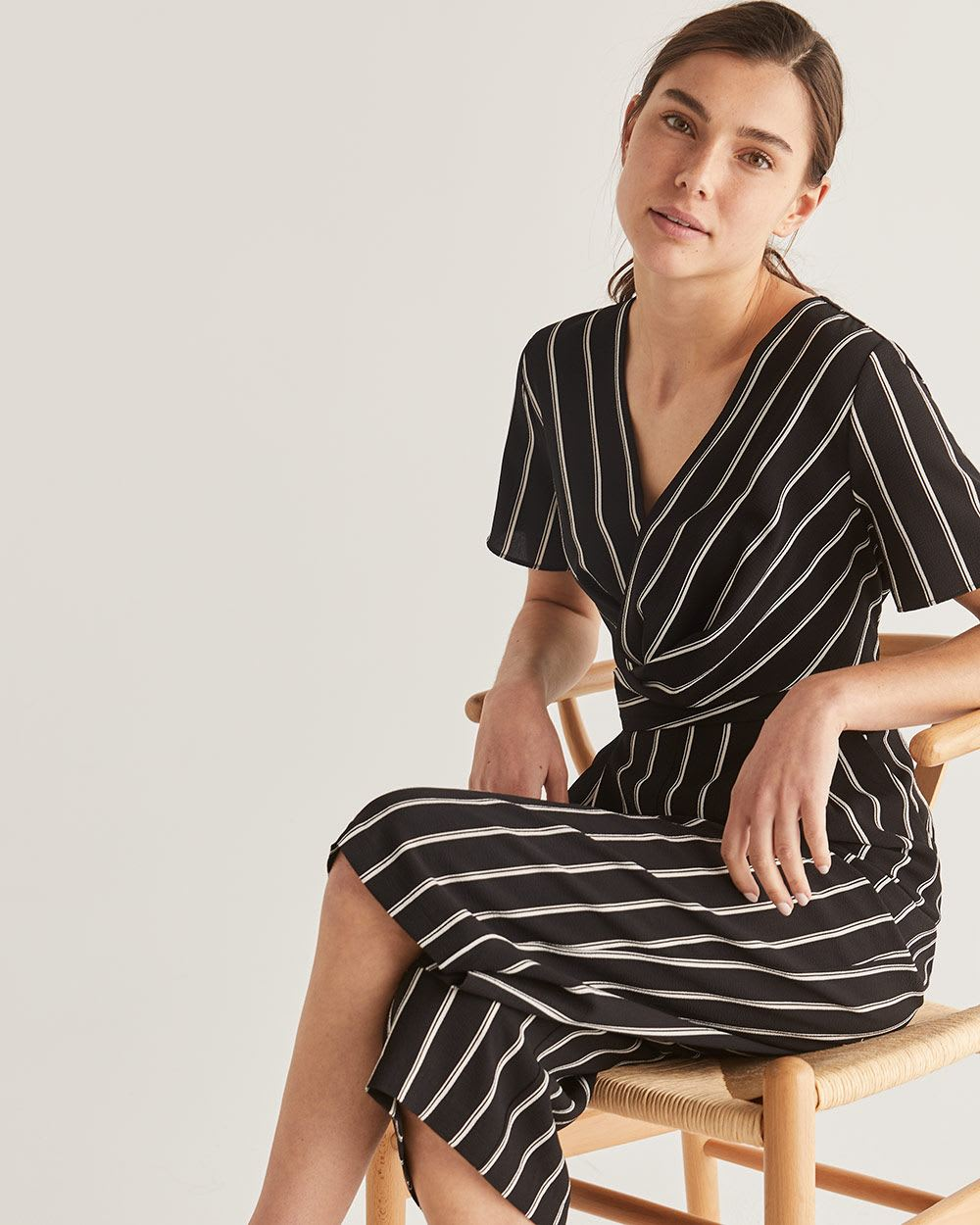 Striped Wide Cropped Leg Twist Jumpsuit