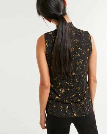 Sleeveless Mock Neck Printed Top