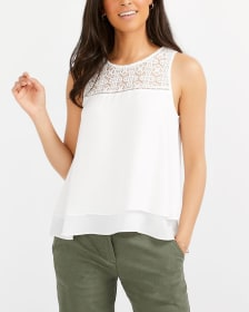Sleeveless Crochet Yoke Blouse