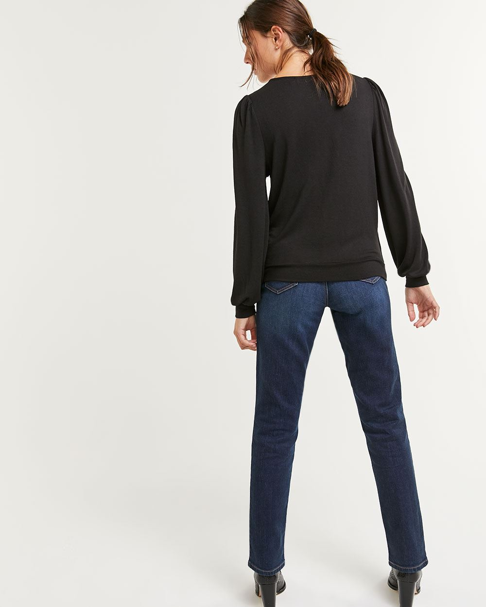 Long Puffed Sleeve Wrap V-Neck Top