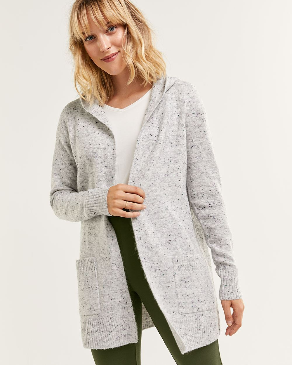 Hooded Nep Yarn Cardigan with Pockets