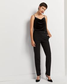 Black Straight Leg Pants with Metal Detail - Petite
