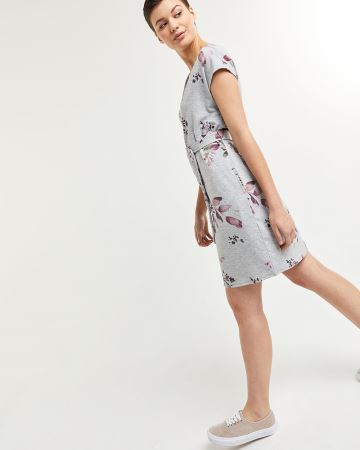 Shift Floral Print Dress with Sash