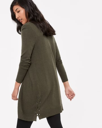 Lace Up Long Open Cardigan