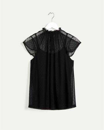 Frill Mock Neck Mesh Top