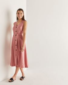 Willow & Thread Linen-Blend Midi Dress with Sash