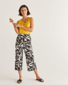 Printed Wide Cropped Pants