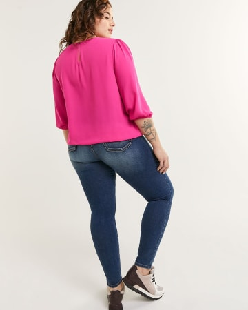 3/4 Sleeve Crew Neck Blouse