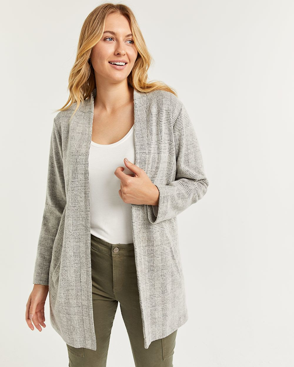 Open Collar Jacquard Coatigan