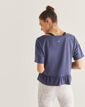 Hyba Cropped Tee with Back Ruffles