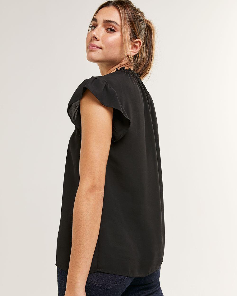 Short Flutter Sleeve Blouse with Mock Neck