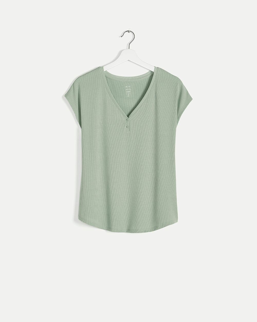 Ribbed V-Neck Pyjama Tee