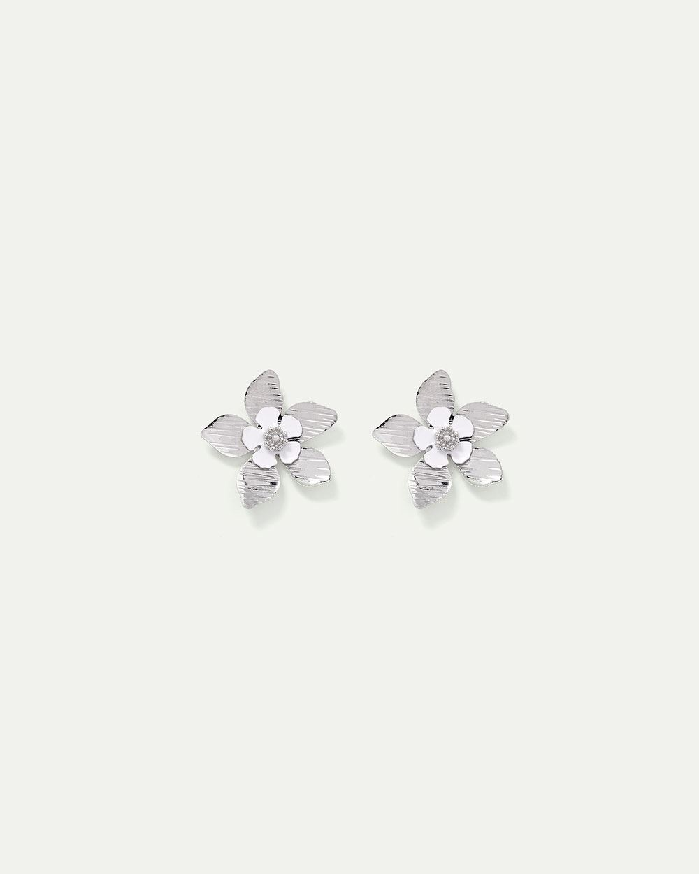 Metal & Enamel Flower Earrings