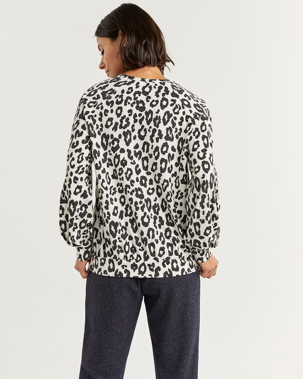 Leopard Print French Terry Sweater