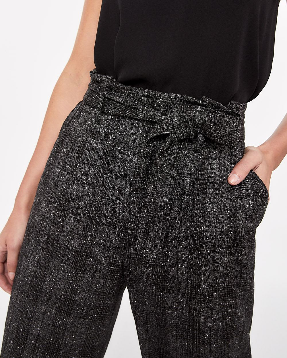 Paper Bag Waist Cropped Pants