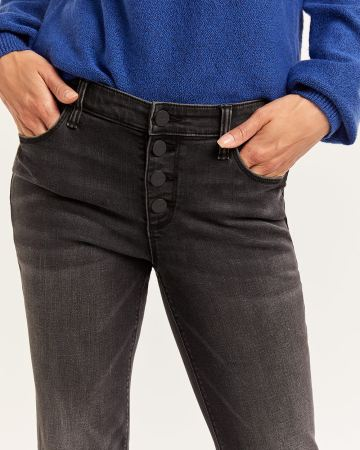 Black Wash Skinny Jeans with Button Fly