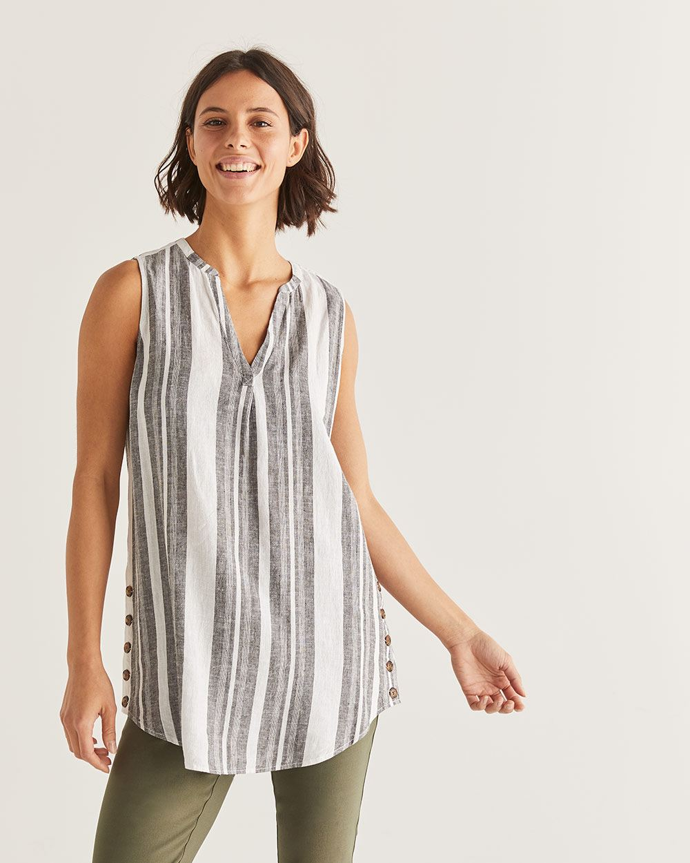 Linen-Blend Stripe Sleeveless Blouse