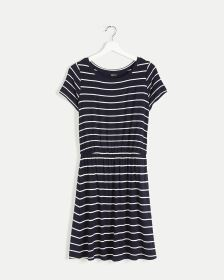 Short Sleeve Striped Elastic Waist Dress