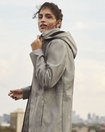 Hooded Lightweight Coat with Faux Leather Trims