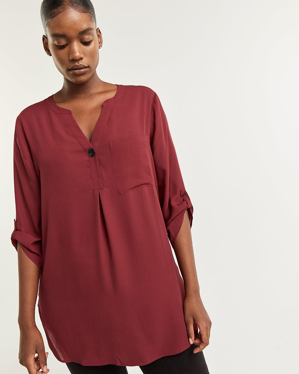 3/4 Sleeve Tunic with Chest Pocket