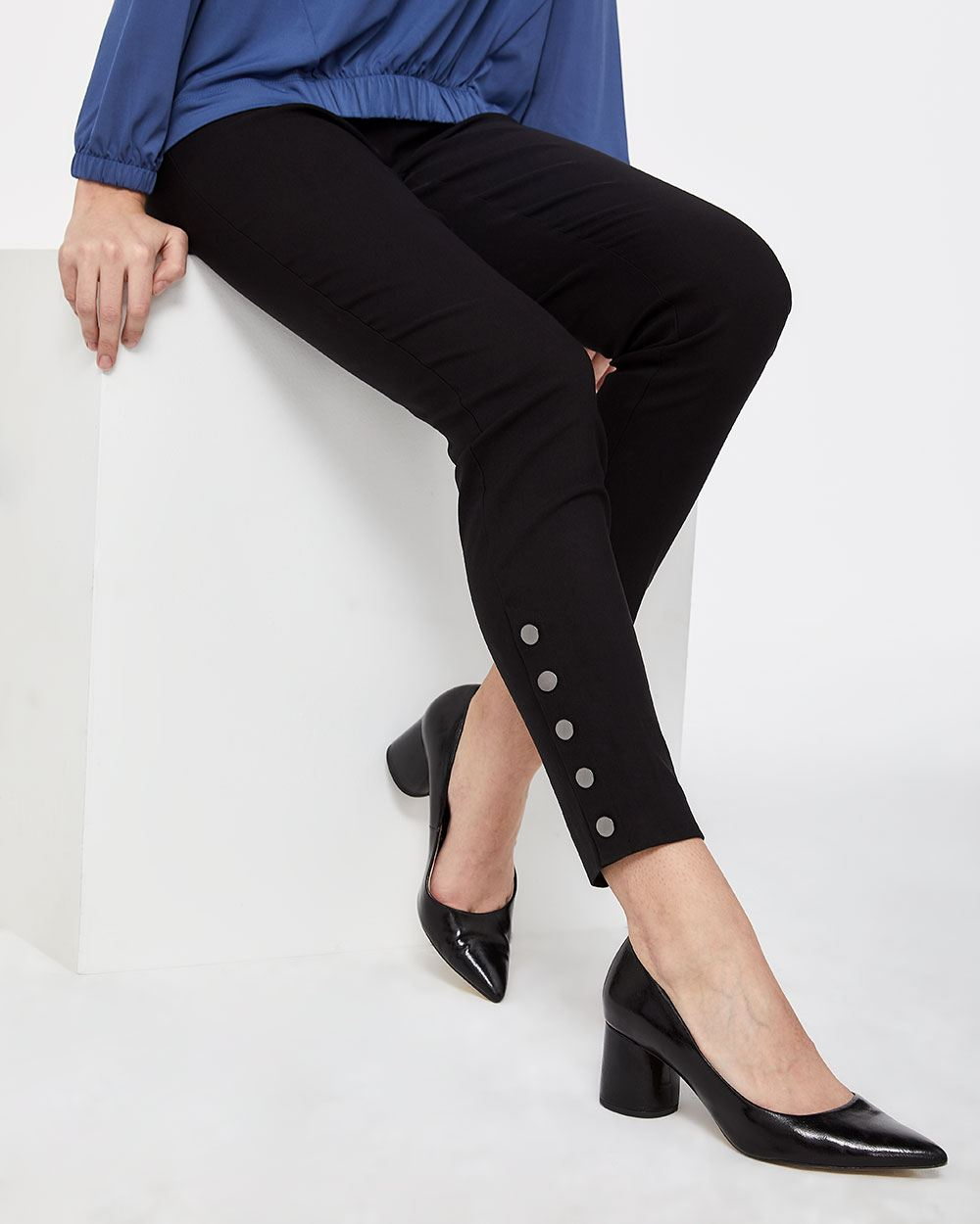 The Petite Iconic Slim Leg Pants with Side Snaps