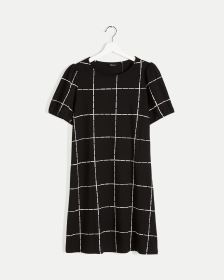 Windowpane Short Sleeve Shift Dress