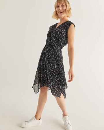 Printed Chiffon Dress with Handkerchief Hem