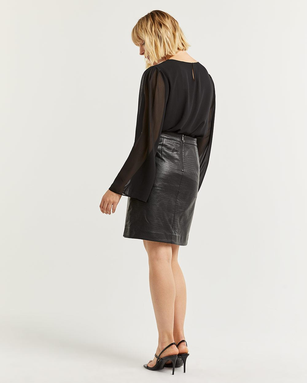 Textured Faux Leather A-Line Skirt