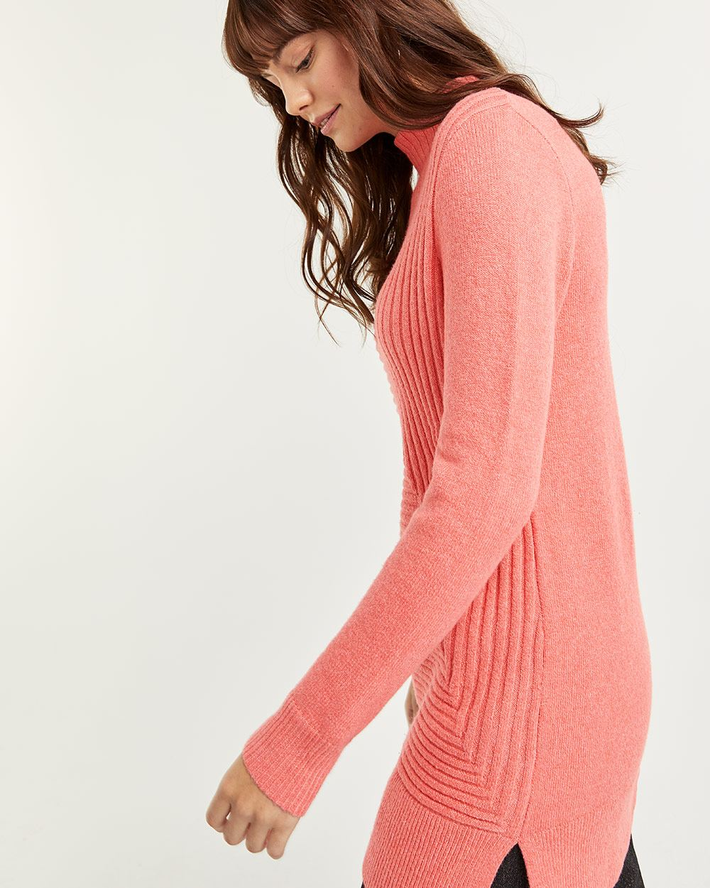 Funnel Neck Ribbed Tunic Sweater - Petite