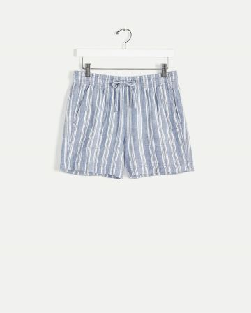 Linen-Blend Pull On Striped Shorts