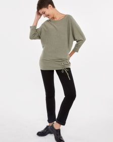 Lace-Up Dolman Sleeve Sweater