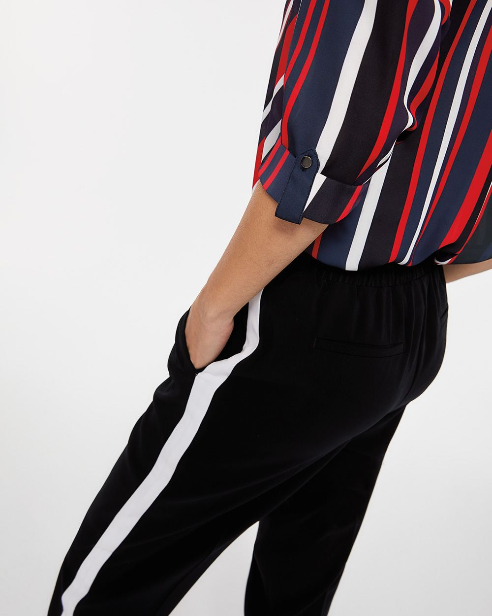 Contrasting Side Seam Slim Pants