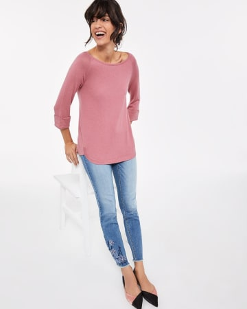 3/4 Sleeve High Low Top