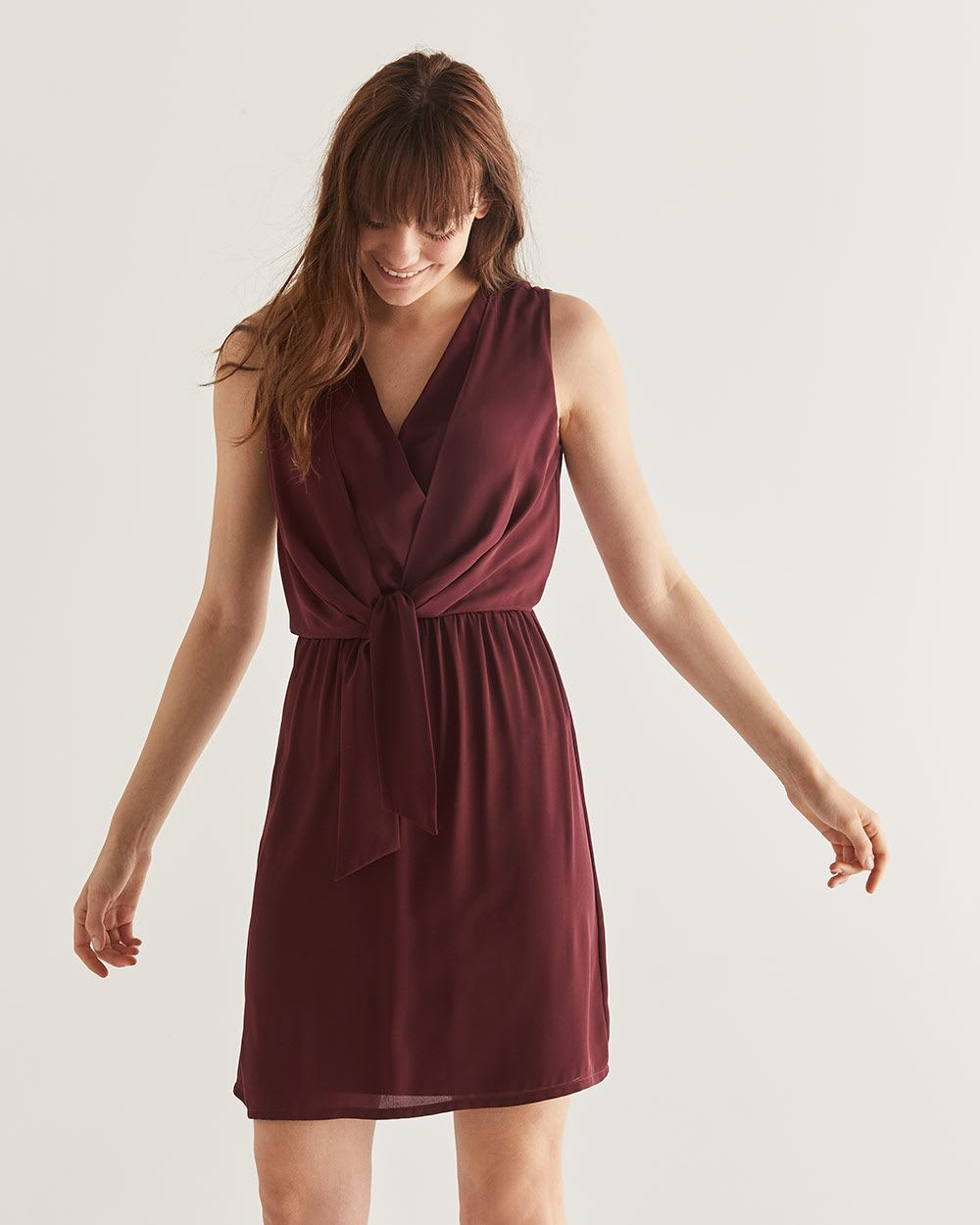 Front Tie Double Wrap Swing Dress