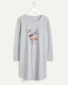 Long Sleeve Crew Neck Screenprint Nightshirt