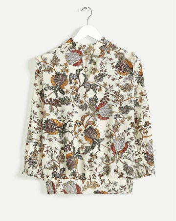Mock Neck Printed Blouse with Ruffles