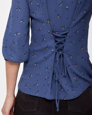 3/4 Sleeve Blouse with Lace-up