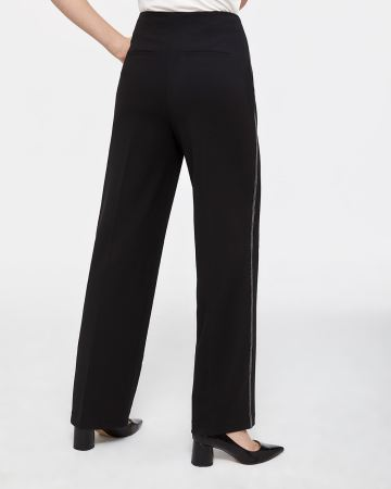 Wide Leg Pants with Contrasting Stitching