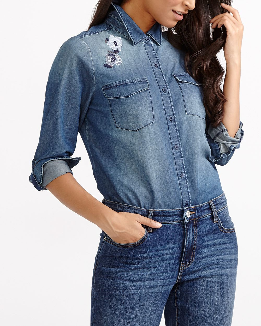 a8187b28347 Embroidered Jean Shirt