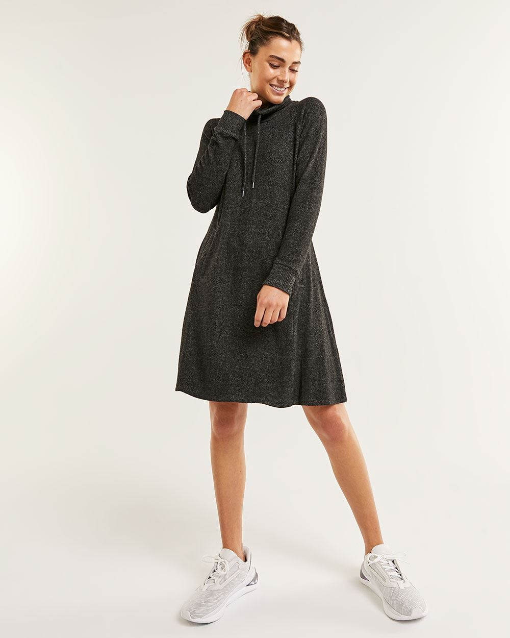 Long Sleeve Cowl Neck Brushed Swing Dress Hyba