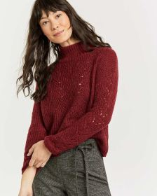 Pointelle & Cable Long Sleeve Sweater - Petite