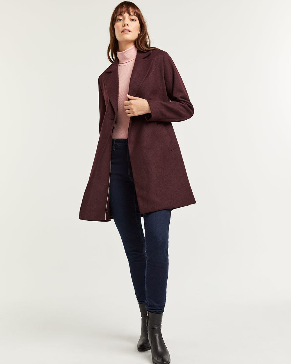 Double-Breasted Tailored Collar Wool-Blend Coat with Belt