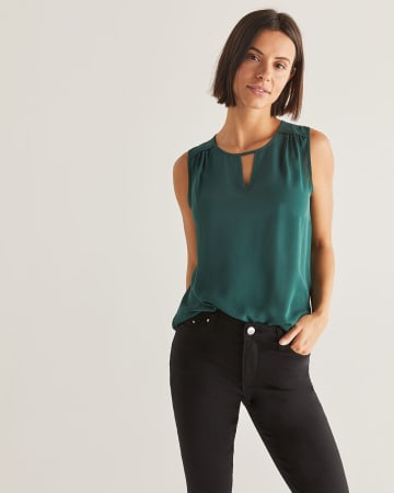 Sleeveless Blouse with Keyhole