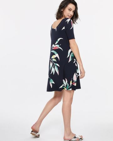 Reversible Cross Detail Printed Dress